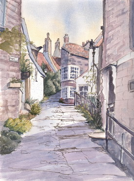 Robin Hoods Bay watercolour